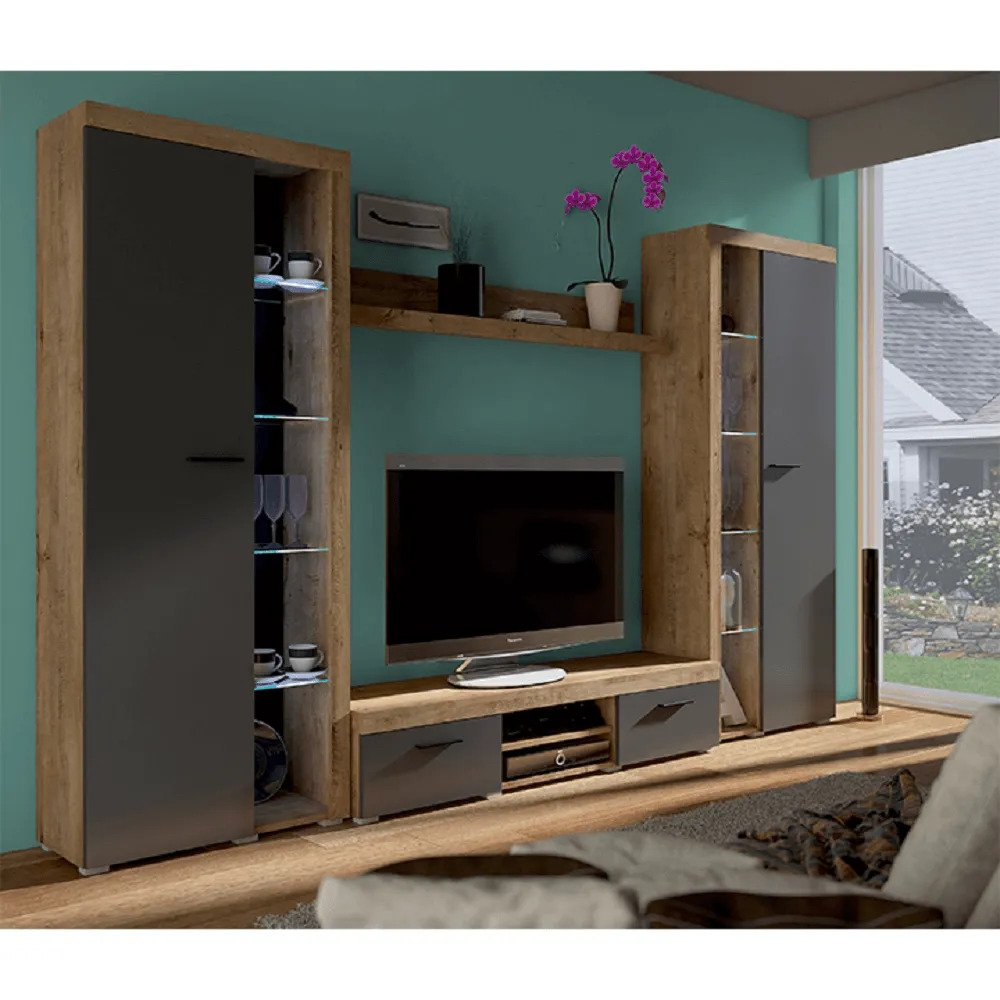 NESEBAR XL 0000238825 Obývacia stena, dub lefkas/grafit, NESEBAR XL   0000238825